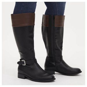 Faux Leather Two Tone Buckle Knee-High Boot (WW)